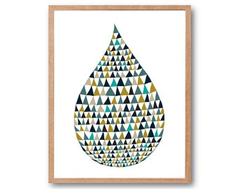 Waterdrop Art Print, wall art, geometric print, stylish kids room art, Children room art