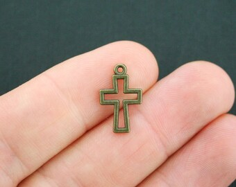 12 Cross Charms Antique Bronze Tone 2 Sided Open Design - BC856