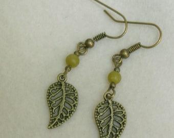 Korean Olive Jade Semi Precious Stone Earrings with Leaf Element