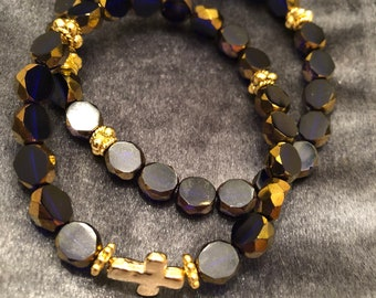 Purple glass beaded bracelets with gold cross (set)