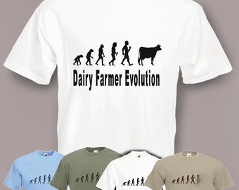 Evolution To Dairy Farmer t-shirt Funny Cow T-shirt sizes Sm To 2XXL