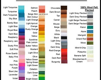 Pure Wool Felt - Choose your own colours  - 6 squares - Australian Merino Wool