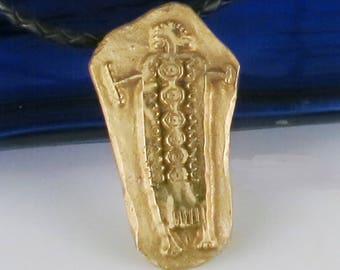 Southwest Shaman Kiln Fired Bronze Pendant Gift - Petroglyph Shaman Bronze Pendant - Southwest Petroglyph Shaman Necklace - Key Ring Gift