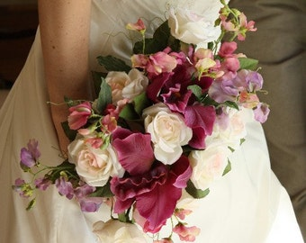 Magenta and Light Pink Romantic Silk Bouquet, Orchids, Roses, and Sweet Pea Bouquet