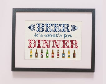Beer, It's What's For Dinner counted cross stitch pattern