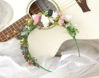 Pink White Blackberry Flower Crown Bridesmaid flower crown Winter wedding Bridal floral crown Flower girl bridesmaide Wedding flower crown