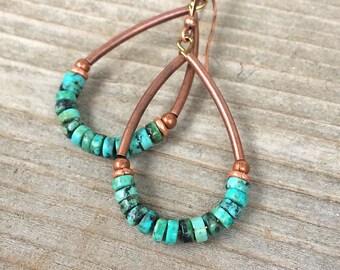 Turquoise Hoop Earrings, Turquoise Jewelry, Southwestern Jewelry, Southwestern Turquoise Earrings, Copper Hoop Earrings, Copper Jewelry