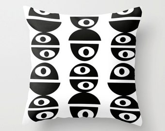 Modern Throw Pillow Cover, Modern Pillow Cover, Black & White, Mod Pillow Cover, Throw Pillow Cover,Mid Century Modern Throw Pillow