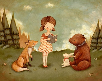 Woodland Storytime Print 10x8 - Children's Art, Girl, Fox, Bunny, Bear, Cute, Book Lover, Bookworm, Reading, Story, Kids Decor, Nursery Art