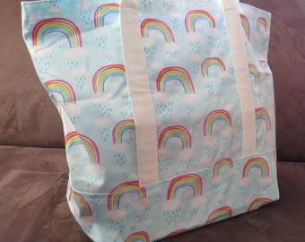 FREE SHIPPING ALWAYS - Rainbow print tote bag, cotton bag, reusable grocery bag, knitting project bag, beach bag, Green Market bag