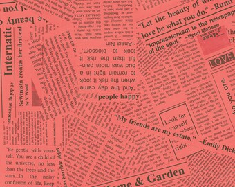 Paint by Carrie Bloomston for Such Designs - Newsprint - Coral - 1/2 yard cotton quilt fabric 516