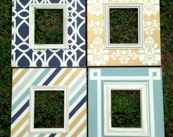 custom distressed picture frame set of four 8x10 | modern wall gallery grouping | metallic gold and navy | wall art |home decor|gift for mom
