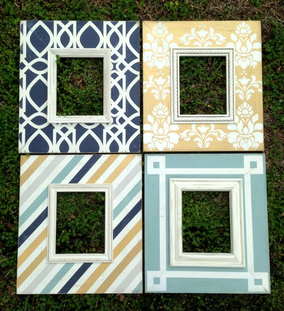 custom distressed picture frame set of four 8x10 | modern wall ...