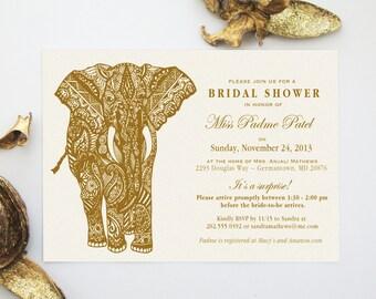 Mehndi Elephant Indian Henna Art Invitation Design, Indian Inspired Bridal, Baby, Tea Party, Kitchen, Couples Wedding Shower Invite