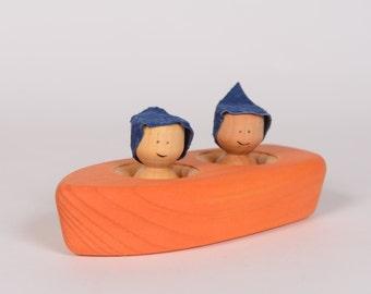 Orange wooden boat, wooden bathing toy, wooden rowboat by l'Atelier Cheval de bois