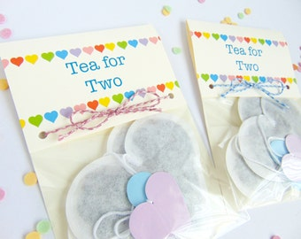 Heart Shaped Tea Bags, Tea for Two, Novelty Gifts, Unique Gift, Small Gift, Set of Two Tea Bags, Tea Lovers Gift, Valentine Gift