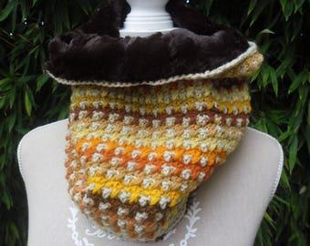 COLLAR SNOOD crochet and fake fur
