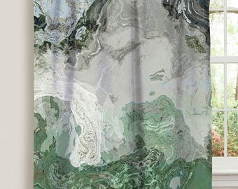 "Abstract art window curtain in gray and green, 50""x84"" blackout drapery panel, contemporary rod pocket curtain, livingroom decor, River Wind"