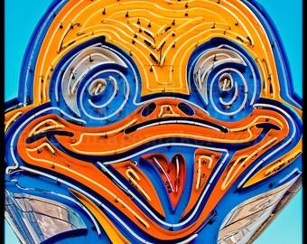 Las Vegas Art, Neon Sign, Yellow Duck Art, Neon Boneyard, Yellow and Blue Wall Art, Boulder Highway Ugly Duckling Car Sales Sign