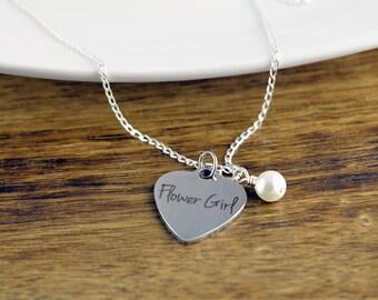 Flower Girl Necklace, Flower Girl Gift,  Personalized Flower Girl Necklace, Wedding Gift, Bridal Party Gift, Children's Necklace