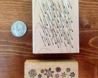 Rain & Snowflakes Rubber Stamps