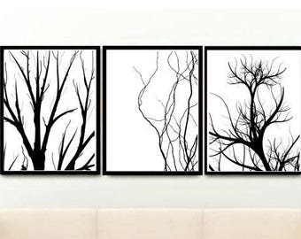 Scandinavian Triptych, Set of 3 Prints, Tree Prints, Branches Art Print, Printable Art, Scandinavian Art, Digital download, Wall Decor