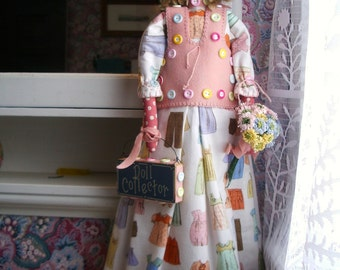 "Handmade Primitive  Doll  26"" - Dagmar- Doll Collector"