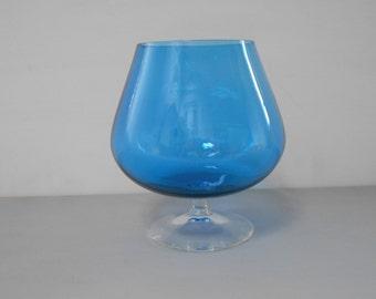 Retro Vintage Small Blue Art Glass Brandy Balloon Clear Base 1970's  #10046