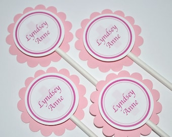 Baptism Cupcake Toppers, Girls Baptism, First Holy Communion Party Decorations, Religious Party Decorations - Set of 12