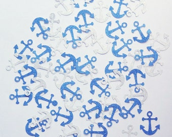 """Blue Glitter and Silver Glitter Anchor Confetti - 1"""" Inch Party Decor Decorations Die Cuts Scrapbooking Gift Wrapping Stationery Cards Craft"""