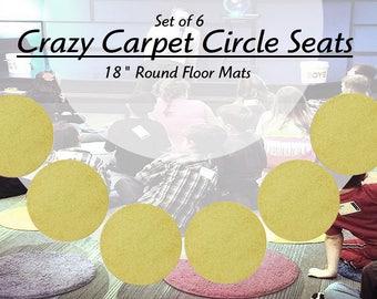"Children's CraZy CarPet CirCle SeaTs - Lemon Drop Yellow | 18"" Round Rug Mats KIDS FAV! ( Set of 6 )"