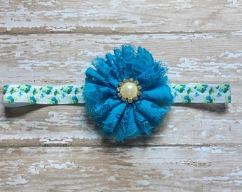 Baby Girl's Lace Flower Headband, Infant Headband, Turquoise Flower Headband, Elastic Baby Headband, One of a Kind Baby Headband