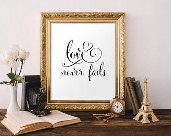 1 Corinthians 13, Love Never Fails, Bible Verse, Bible Verse Print, Love Sign, Christian Wall Art, Wedding Decor, Wedding Gift, Scripture