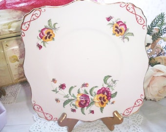 Square Cake Plate - Rare - Tuscan Pansy - Made in England - Vintage Serving Plate
