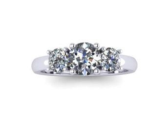 Engagement Ring, Moissanite, Moissanite Engagement Ring, Three-Stone Ring, 14K White Gold, Promise Ring RE00141