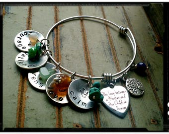 Mother Charm Bracelet - Stainless Bangle//Personalized Charms//Unique Birthstones//Hand Stamped Charms//Stainless Heart Charm - Gift for Mom