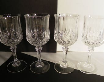 Cristal d' Arques Longchamp Clear Crystal Wine Goblet (s) LOT of 4 Glass Barware