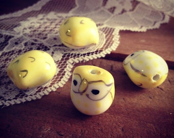 12 Pcs Owl Bead Owl Charms Woodland Yellow Owls Handpainted (SW)