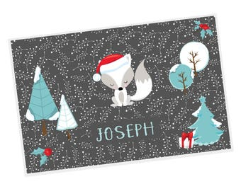 Christmas Personalized Placemat - Christmas Fox Trees Gift Holly Grey Winter Sprigs with Name, Customized Laminated Placemat