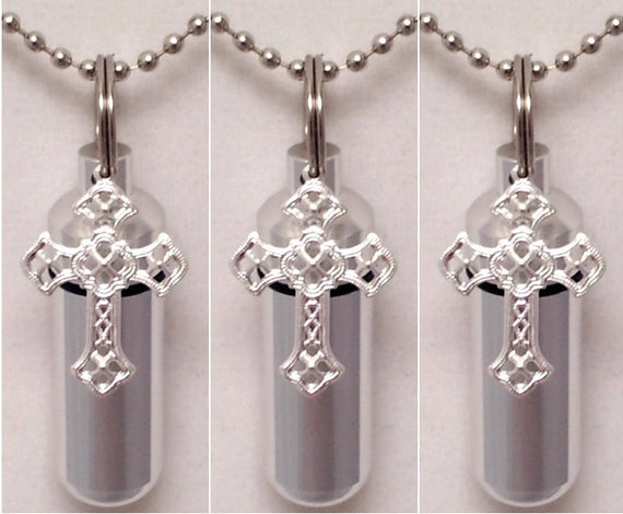 Set of THREE - Silver Anointing Oil Holders with Vials and Silver Filigree Crosses - with 3 Velvet Pouches 3  Ball Chains, & Fill Kit
