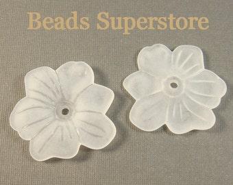 FINAL SALE 30 mm x 5 mm White Clematis Lucite Flower Bead - 8 pcs