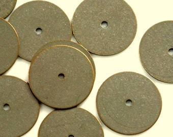 50 pcs antique brass tone brass 16 mm circle tag middle hole charms ,findings 66AB-40