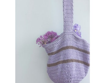 Eco Friendly Cotton Tote Bag, Custom Reusable Market Bag, Crochet Slouchy Bag,  Book Bag, Beach Bag