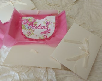 Baby Bib Gift Box Keepsake Box Ivory