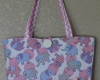 Pink Elephant Baby Diaper Bag