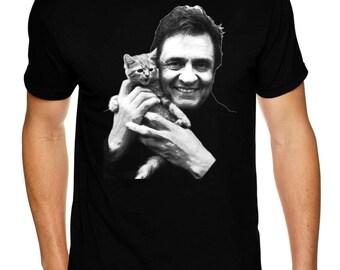 Johnny Cash With Kitten - Premium Sueded T Shirt