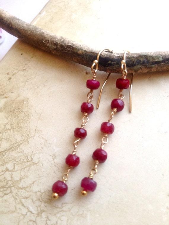 Ruby Dangle Earrings, Genuine Ruby Gemstone , July Birthstone , Root Chakra Jewelry, Wedding Jewelry