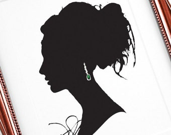 Vivienne print, Cameo Silhouette, Fashion Illustration, Cameo Art, Home Art, Bedroom Décor, Black and White Print