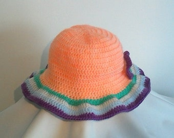 Orange colored border crocheted Hat