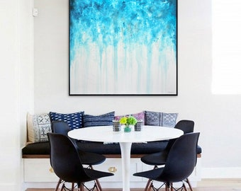 Original painting large art 36 x 36 square abstract oil painting wall art blue contemporary modern art blue white by L.Beiboer